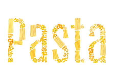 Vector text of pasta for Italian restaurant Ilustrace