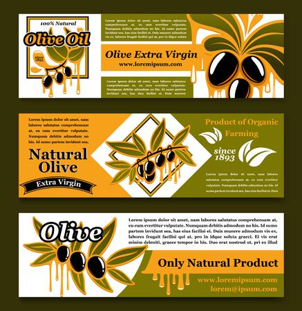 Olive oil extra virgin product banners vector set Ilustração