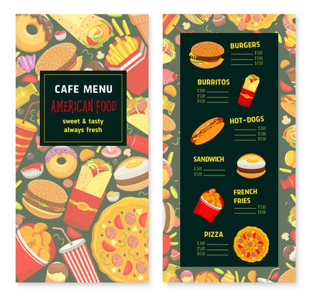 Vector fast food menu for cafe or restaurant