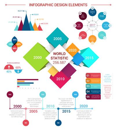 Vector flat infographics design elements template Illustration