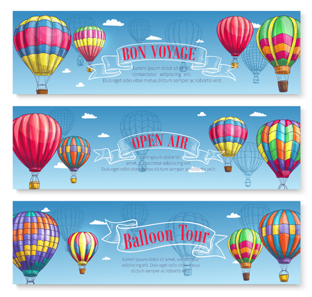 Vector banners for hot air balloon tourism voyage Stock Vector - 79001236