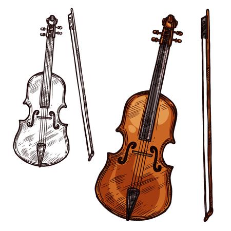 Vector sketch violin contrabass music instrument