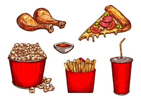 alimentos y bebidas: Iconos de boceto de vectores bocadillos y bebidas de comida rápida