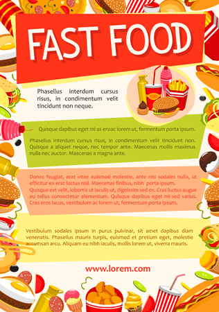 Vector fast food poster for fastfood restaurant Illustration