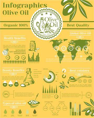 Olive oil vector infographic elements template