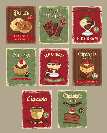 bakery price: Bakery shop price cards vector retro design set