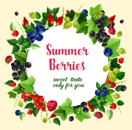 Summer berries and fruits vector poster