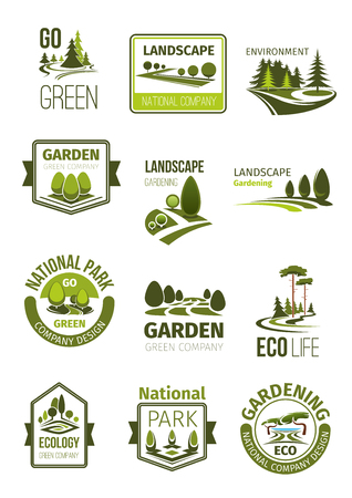 Green landscape and gardening company vector icons Stock Illustratie