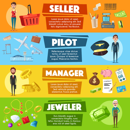 Vector banners seller, pilot, manager or jeweler Illustration