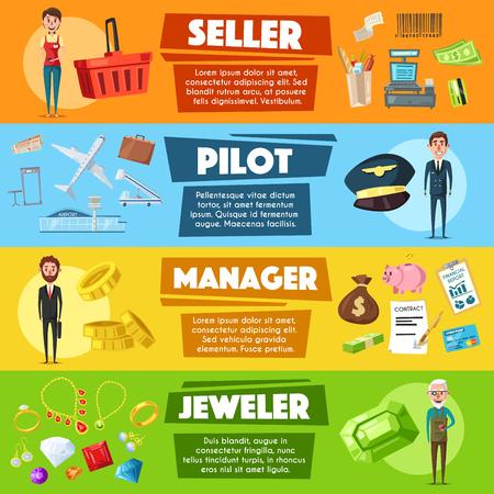 Vector banners verkoper, piloot, manager of juwelier Stock Illustratie