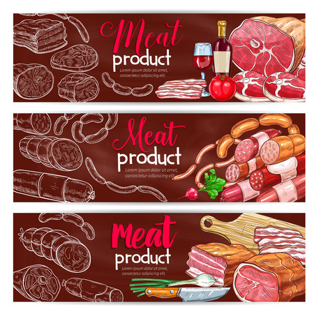 Vector banners for butchery shop meat products Illustration