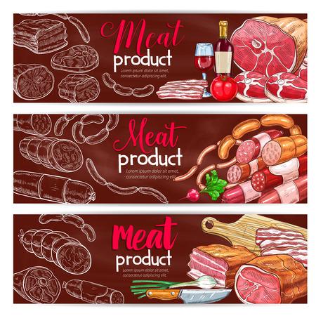 Vector banners for butchery shop meat products Ilustração