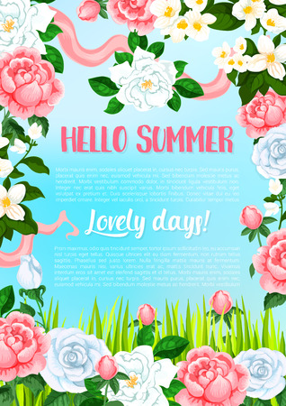 Vector greeting poster of flowers for Hello Summer Çizim