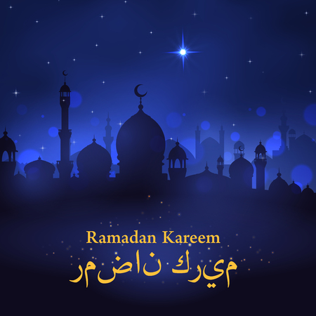 Ramadan Kareem greeting card design of mosque, crescent moon and twinkling star on night blue sky. Vector Arabic ornament calligraphy text for Islamic or Muslim Ramadan religious holiday celebration Illustration