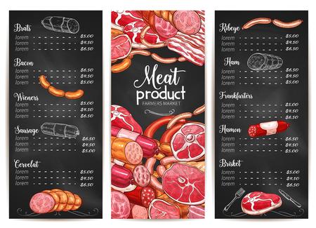 肉屋店肉のベクターのメニューや価格のリスト  イラスト・ベクター素材