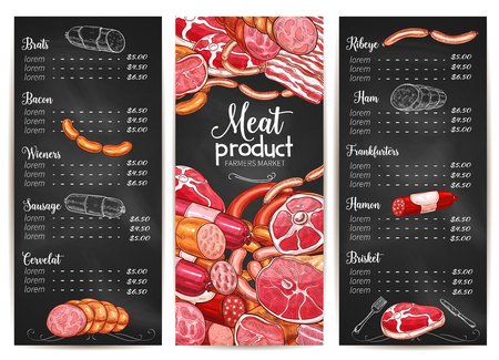Vector menu or price list for Butchery shop meat