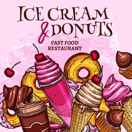 Affiche de crème glacée et de beignets fast food