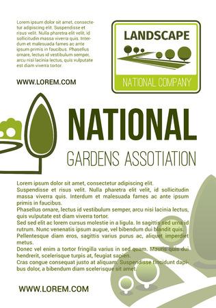庭園の風景会社ベクトル ポスター