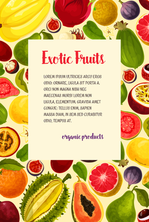 Vector poster of exotic fresh tropical fruits