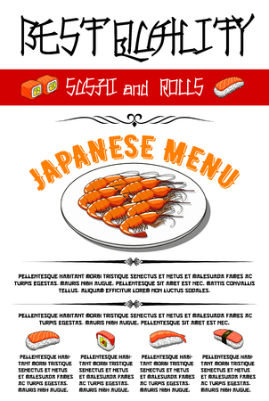 Japanese vector menu for sushi and rolls Illustration