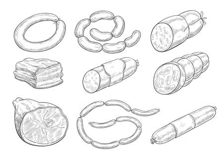 Iconos de boceto de vectores de productos cárnicos de carnicería