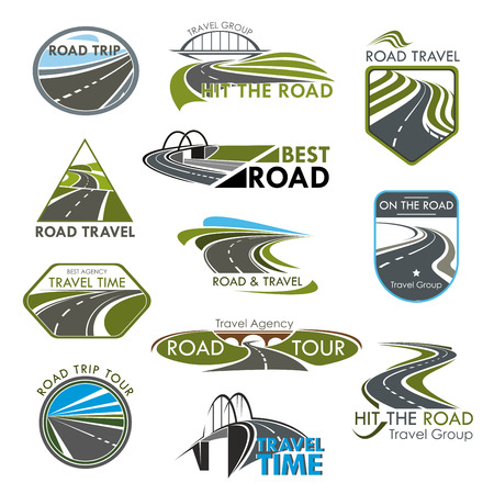 Vector icons road travel or tourist trip company
