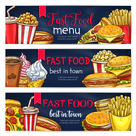 Vector fast food banners for restaurant