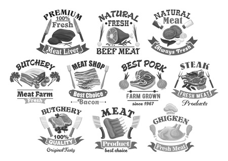 Vector icons for butchery shop meat products