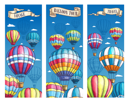 Vector banners for hot air balloon voyage tour Stock Vector - 79001361