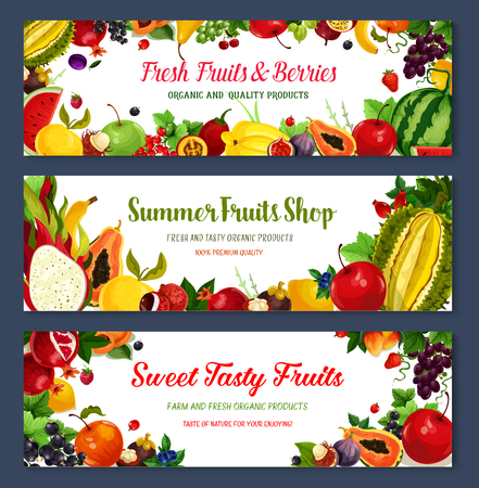 Vector banners for fresh fruit shop