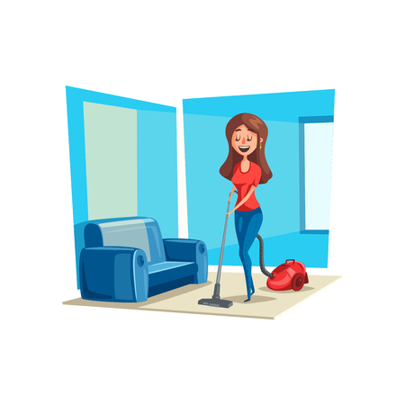 Room cleaning woman in house vector poster Illustration