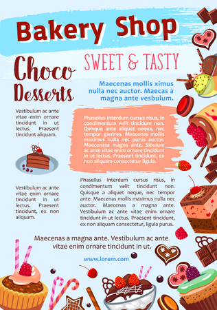 Bakery shop vector poster of dessert cakes Çizim