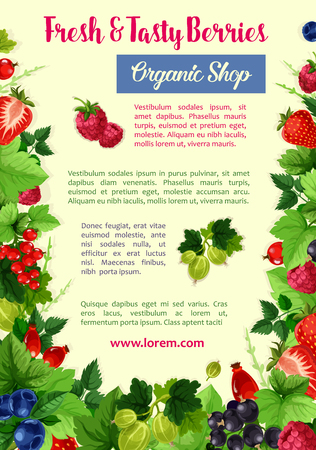 Berries and fruits vector poster for farm shop Ilustração