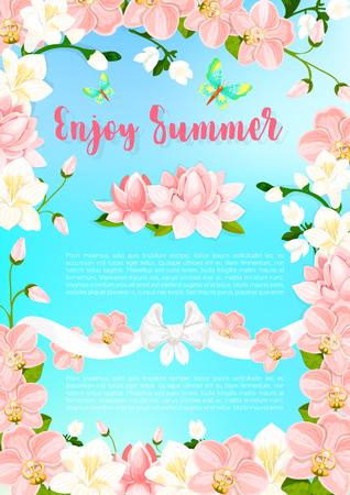 Té fleurir fleurs vecteur voeux affiche Banque d'images - 79001409
