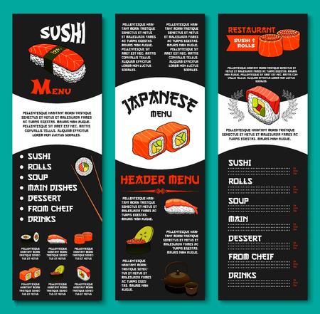 Japanese vector menu for sushi restaurant or bar
