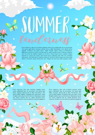 Summer time flowers vector floral poster Çizim