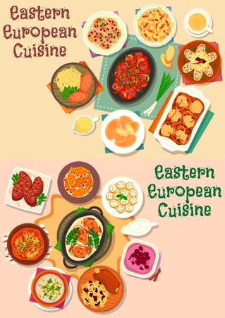 동부 유럽 요리 고기 점심 아이콘 세트