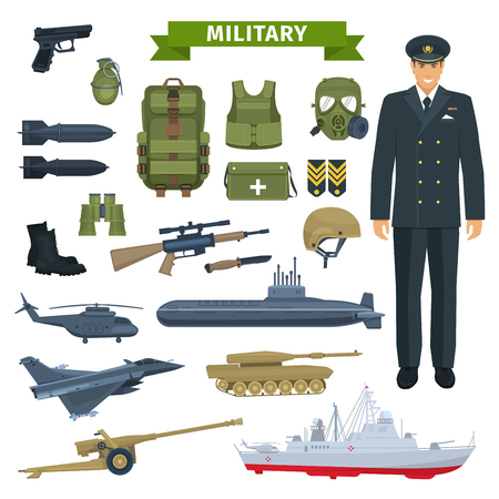 Military man with weapon, personal equipment icon Illustration