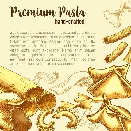 Italian pasta sketch poster with fresh macaroni Illustration