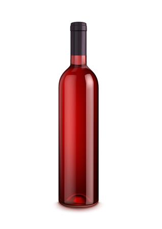 Bottiglia di vino isolato su sfondo bianco. Bottiglia di vetro della bevanda dell'alcool rossa, vino o bevanda dolce con lo spazio della copia. Bar, carta dei vini del ristorante e design pubblicitario