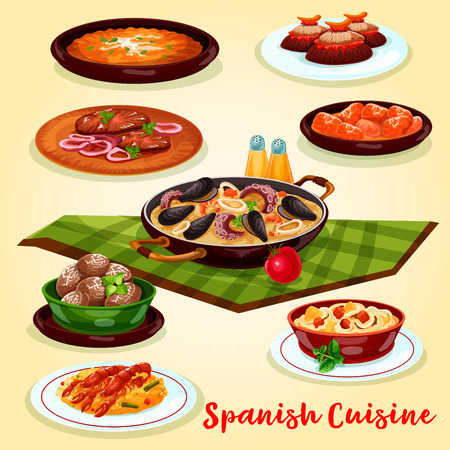 Spanish cuisine dinner menu cartoon poster. Seafood and vegetable paella, potato tortilla with egg, baked potato, chicken baked in tomato chilli sauce, beef schnitzel and cake for food themes design