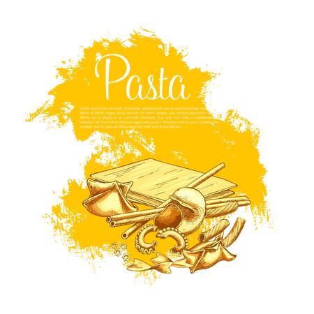 Pasta poster for Italian cuisine restaurant. Vector design of hand-crafted lasagna, tagliatelle and ravioli or durum sort pasta pappardelle, spaghetti and farfalle or fettuccine, gobetti and bucatini