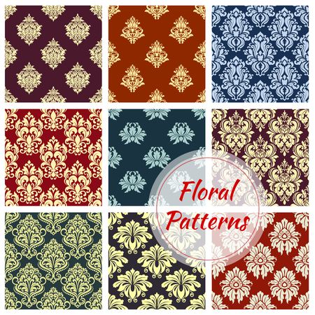 Seamless floral pattern background with damask ornament. Ornate flower motif, decorated with vintage victorian flourishes and leaf scroll for wallpaper pattern, fabric print and tile design Ilustração