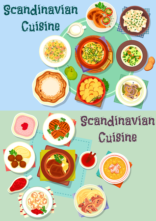 Scandinavian cuisine icon set. Meat and fish stew with vegetable, potato casserole, beef steak, meatball, fish dumpling, salmon, chicken and pea soup, fried herring, chicken, sweet pie, berry dessert Çizim
