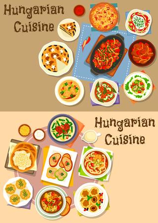 헝가리 요리 점심 아이콘 야채 스튜 소시지와 콩, 생선, 살라미 샐러드, 파프리카 닭고기, 절인 소시지, 생선 및 고기 수프, 치즈 만두, 양귀비 크림 파