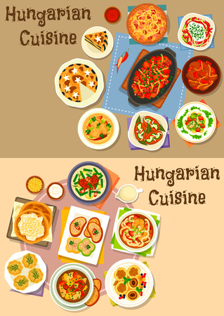 Hungarian cuisine lunch icon set of vegetable meat stew with sausage and bean, fish and salami salad, paprika chicken, marinated sausage, fish and meat soup, cheese dumpling, poppy cream pie