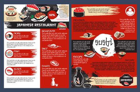 Bar à sushi et restaurant de fruits de mer de l'affiche de la cuisine japonaise. Roll and nigiri sushi avec saumon, thon et crevettes, soupe de nouilles, tempura de crevettes et menu de saké pour la conception de restaurants de cuisine asiatique Banque d'images - 79001467
