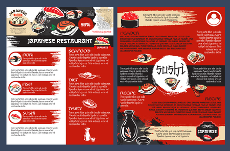 Sushi bar and seafood restaurant of japanese cuisine poster. Roll and nigiri sushi with salmon, tuna and shrimp, noodle soup, prawn tempura and sake menu template for asian cuisine restaurant design