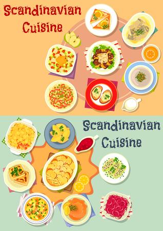 Scandinavische keuken diner pictogrammenset met vis en vlees salade, plantaardige braadpan met zalm en spek, aardappel knoedel, gepekelde zeevruchten toast, vlees champignonsoep, lever met fruitsaus