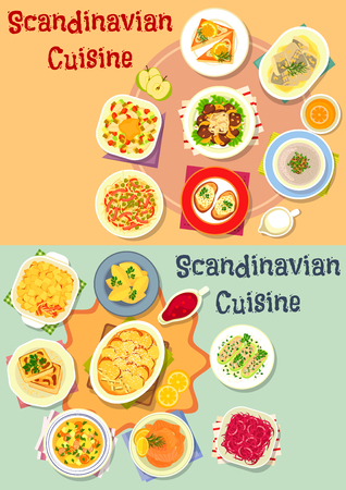 Scandinavian cuisine dinner icon set with fish and meat salad, vegetable casserole with salmon and bacon, potato dumpling, pickled seafood toast, meat mushroom soup, liver with fruit sauce Illustration